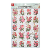 Decoupage Paper A4 - Rose Passion / Rosy Tale 2 Designs, 2 Sheets Each