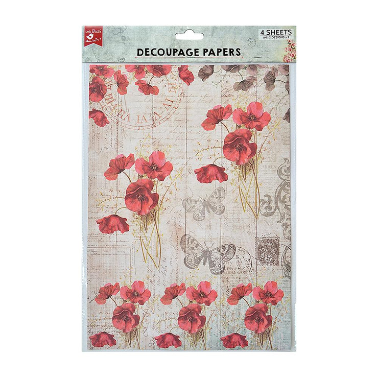Decoupage Paper A4 - Poppy Grace / Poppy Field 2 Designs, 2 Sheets Each