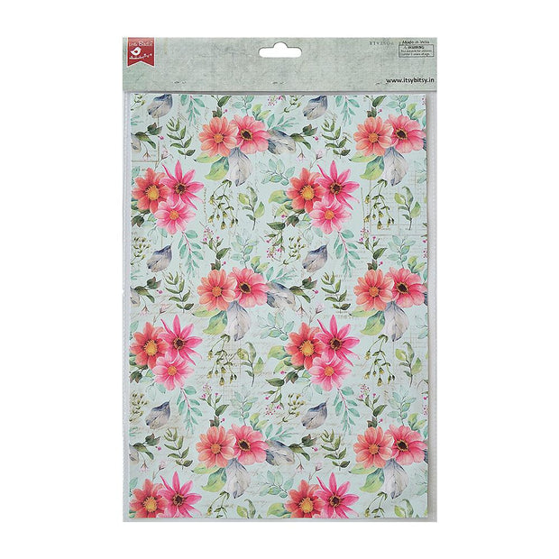 Decoupage Paper A4 - Floral Essence / Floral Brilliance 2 Designs, 2 Sheets Each