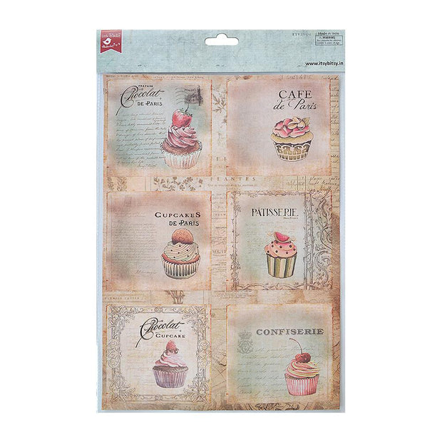 Decoupage Paper A4 - Cupcake Delight / Café De Paris 2 Designs, 2 Sheets Each