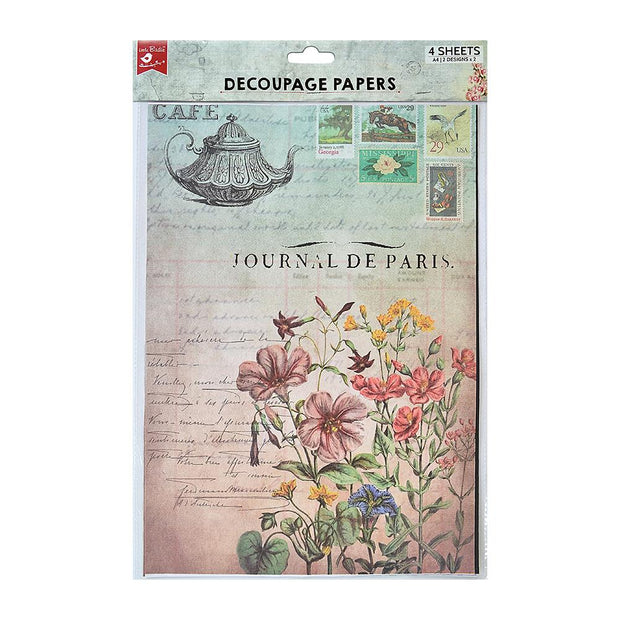 Decoupage Paper A4 - Cafe Journal / Fleur Fields 2 Designs, 2 Sheets Each