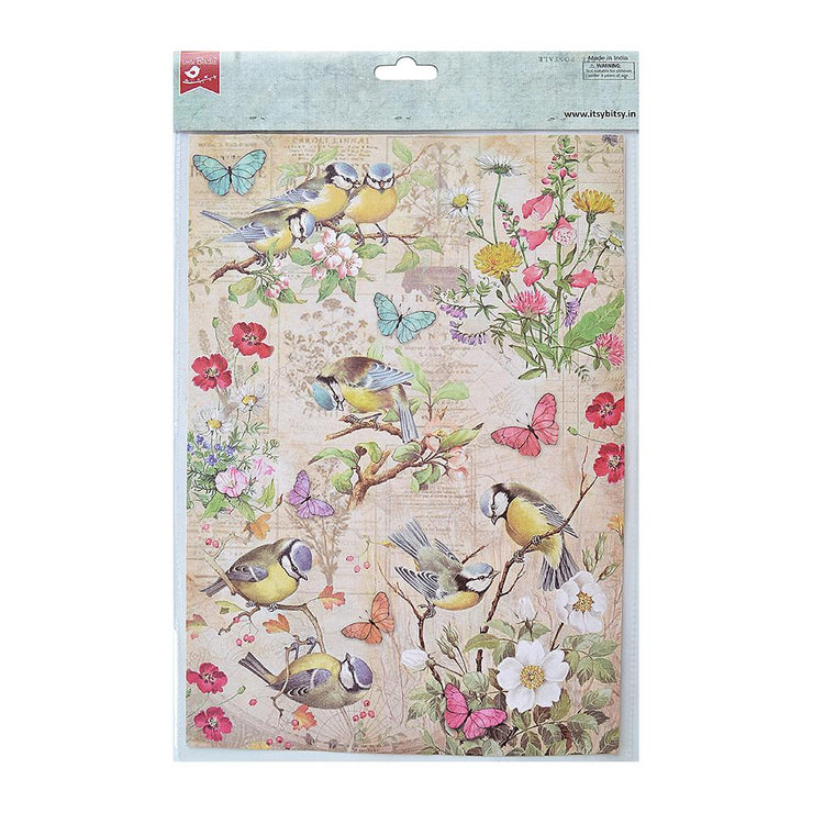 Decoupage Paper A4 - Robin Garden / Chirpy Robbins 2 Designs, 2 Sheets Each