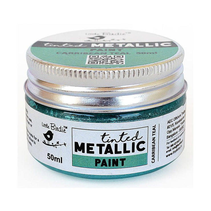 Tinted Metallic Paint- Caribbean Teal, 50ml