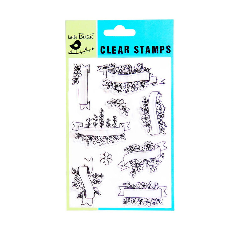 Clear Stamps - Floral Banner, 9pc