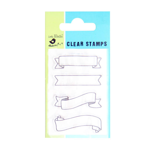 Clear Stamps - Scroll Banner, 4pc