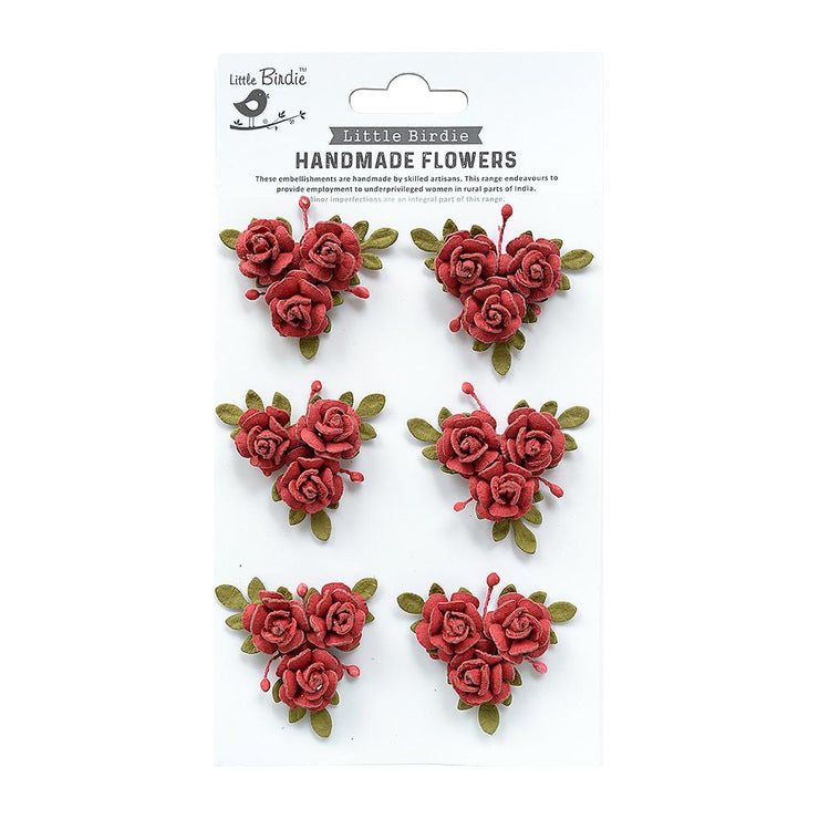 Little Birdie Handmade Flower - Francisca Love and Roses 6pc
