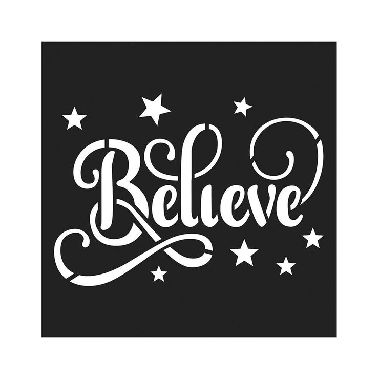 Stencil - Believe In Dreams, 4 x 4in, 1pc