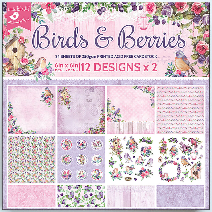 Birds And Berries Card Stock - 6X6 Inch