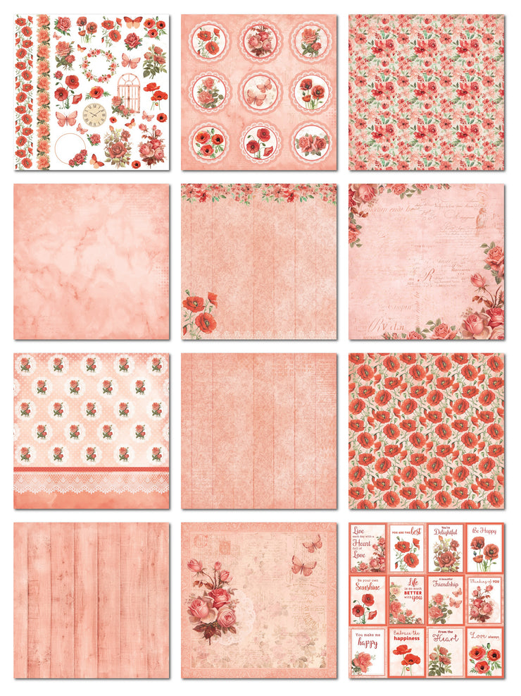 "Poppies & Roses Collection - Printed Cardstock Pack 6""X6"", 24 Sheets"