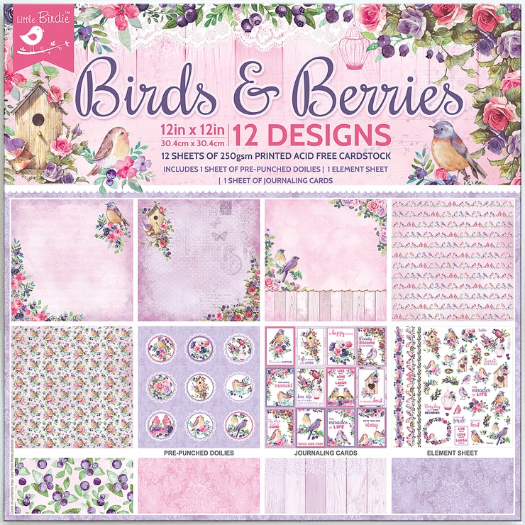Birds And Berries Card Stock - 12X12 Inch