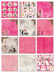Paper Pack True Love- 6in x 6in, 24Sheets, 12 Designs, 250 gsm