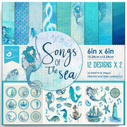 Paper Pack Songs Of The Sea- 6in x 6in, 24 sheet,12 Designs, 250 gsm