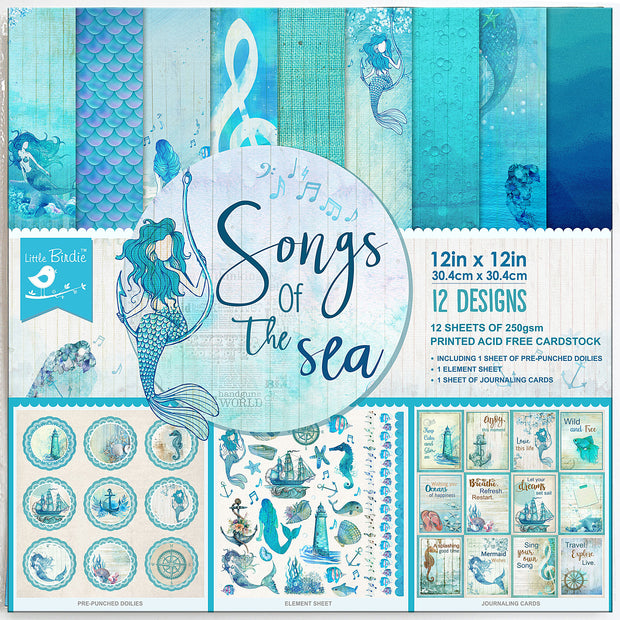 Paper Pack  Songs Of The Sea-12in x 12in, 12 Sheets, 12 Designs, 250gsm