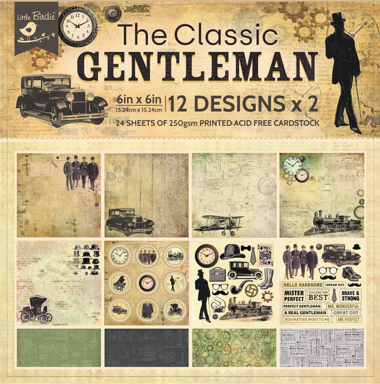 "The Classic Gentleman Collection - Printed Vintage Cardstock Pack 6""x6"", 12 Sheets"