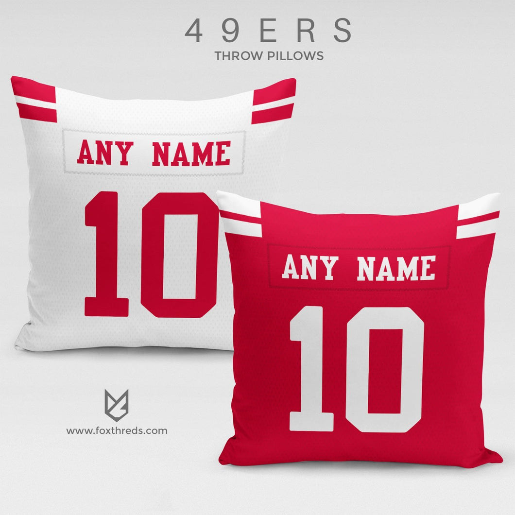San Francisco 49ers Pillow Front and Back - Personalized Select Any Name & Any Number
