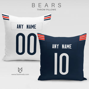 Chicago Bears Pillow Front and Back - Personalized Select Any Name & Any Number