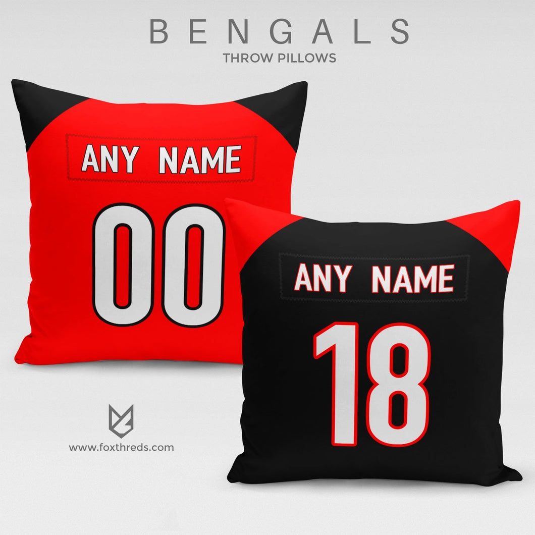 Cincinnati Bengals Pillow Front and Back - Personalized Select Any Name & Any Number