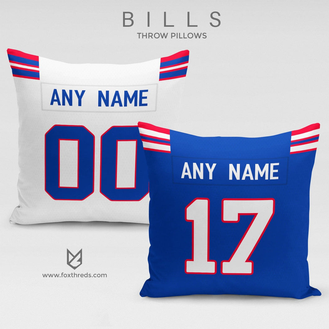 Buffalo Bills Pillow Front and Back - Personalized Select Any Name & Any Number