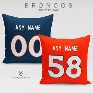 Denver Broncos Pillow Front and Back - Personalized Select Any Name & Any Number