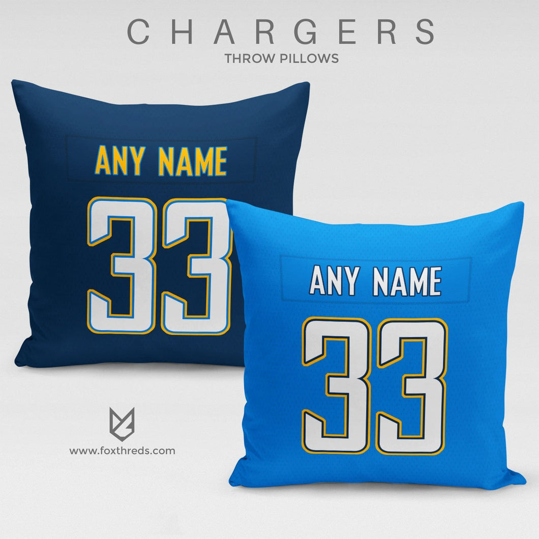 Los Angeles Chargers Pillow Front and Back - Personalized Select Any Name & Any Number