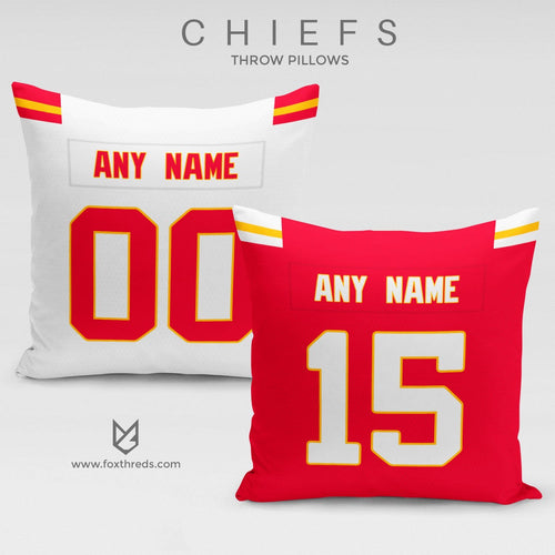 Kansas City Chiefs Pillow Front and Back - Personalized Select Any Name & Any Number