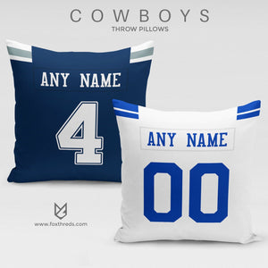 Dallas Cowboys Pillow Front and Back - Personalized Select Any Name & Any Number