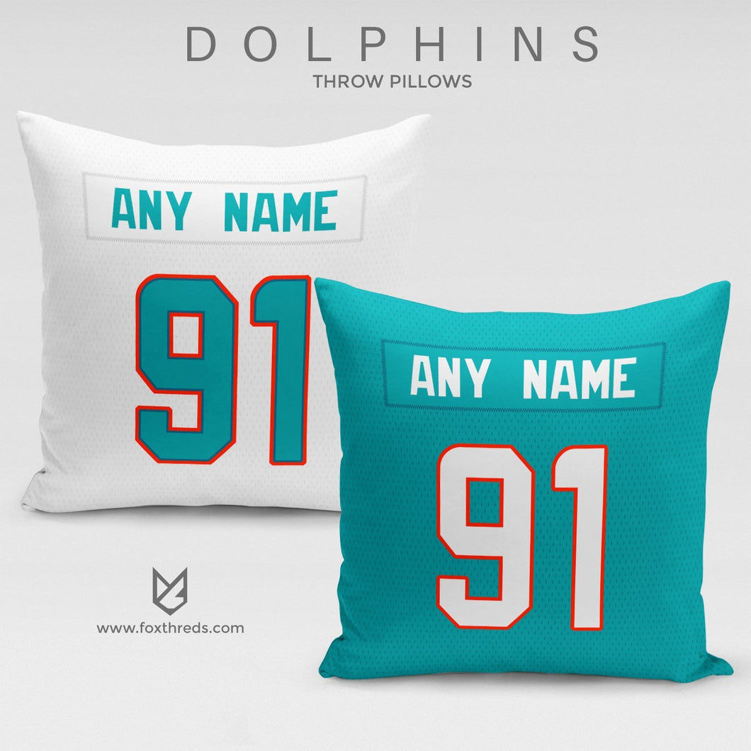 Miami Dolphins Pillow Front and Back - Personalized Select Any Name & Any Number