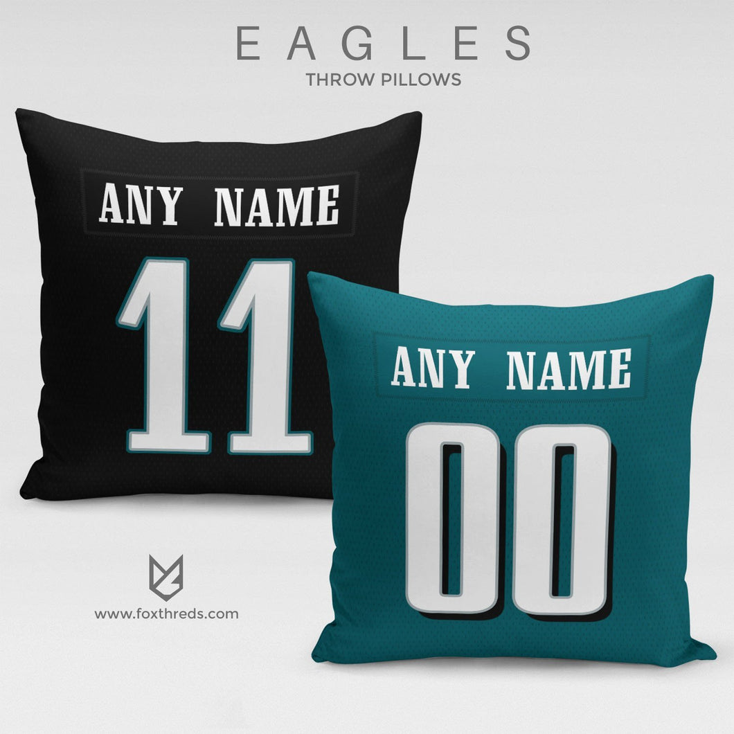 Philadelphia Eagles Pillow Front and Back - Personalized Select Any Name & Any Number