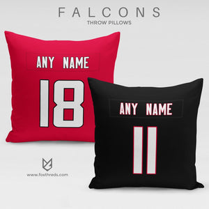 Atlanta Falcons Pillow Front and Back - Personalized Select Any Name & Any Number