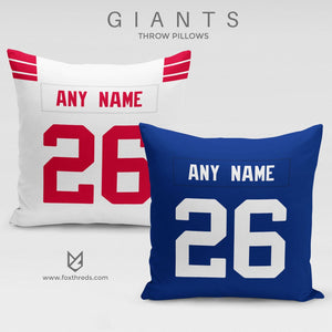 New York Giants Pillow Front and Back - Personalized Select Any Name & Any Number
