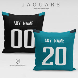 Jacksonville Jaguars Pillow Front and Back - Personalized Select Any Name & Any Number