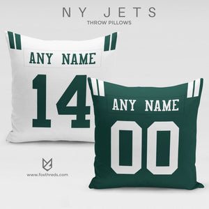 New York Jets Pillow Front and Back - Personalized Select Any Name & Any Number