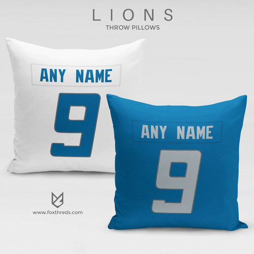 Detroit Lions Pillow Front and Back - Personalized Select Any Name & Any Number