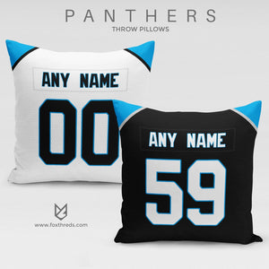 Carolina Panthers Pillow Front and Back - Personalized Select Any Name & Any Number