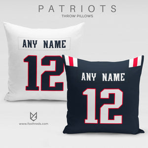 New England Patriots Pillow Front and Back - Personalized Select Any Name & Any Number