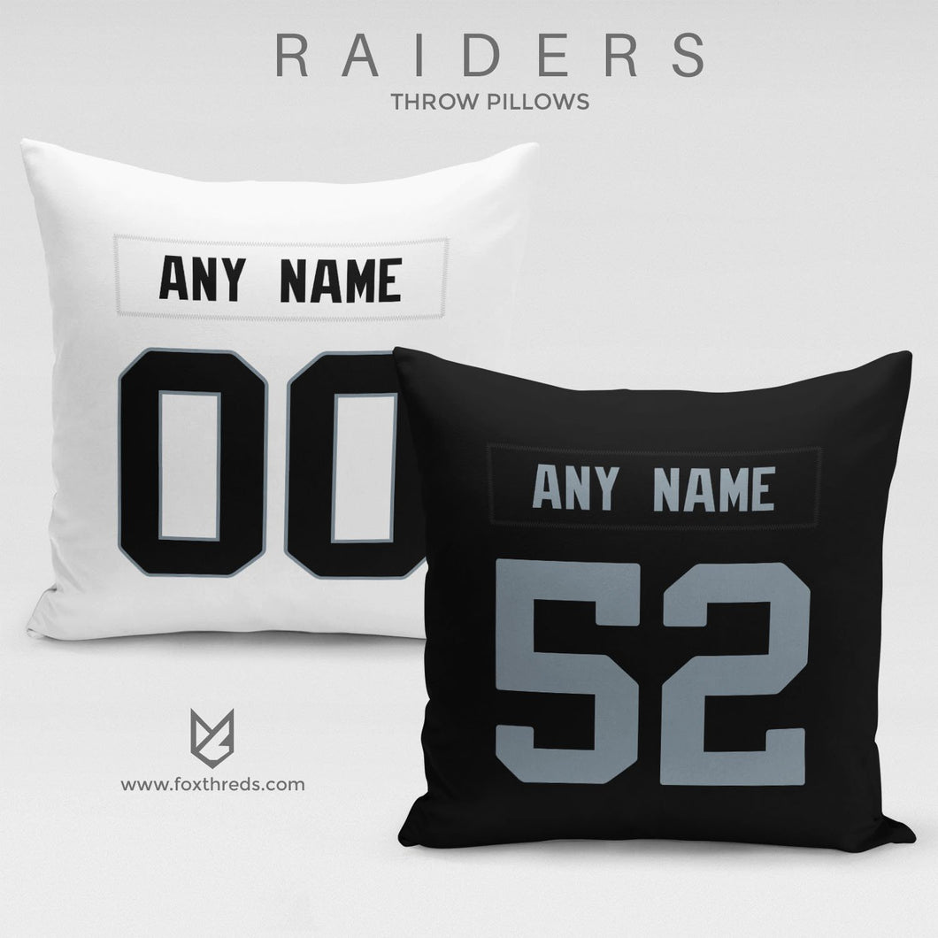 Oakland Raiders Pillow Front and Back - Personalized Select Any Name & Any Number