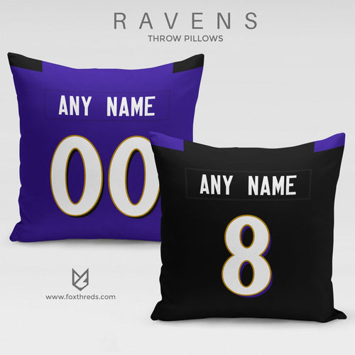 Baltimore Ravens Pillow Front and Back - Personalized Select Any Name & Any Number