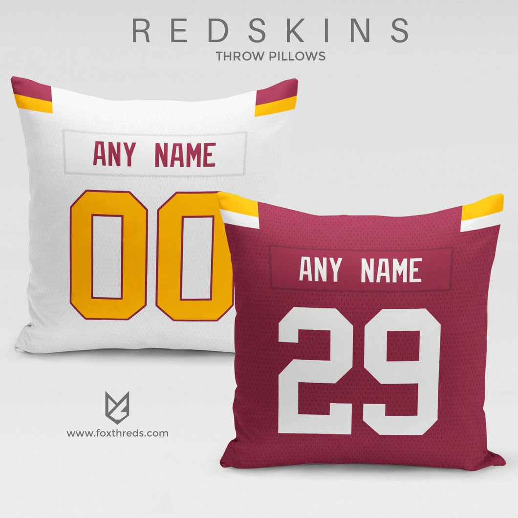Washington Redskins Pillow Front and Back - Personalized Select Any Name & Any Number