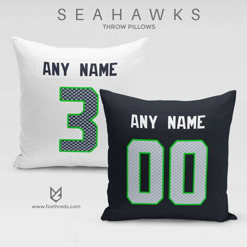 Seattle Seahawks Pillow Front and Back - Personalized Select Any Name & Any Number