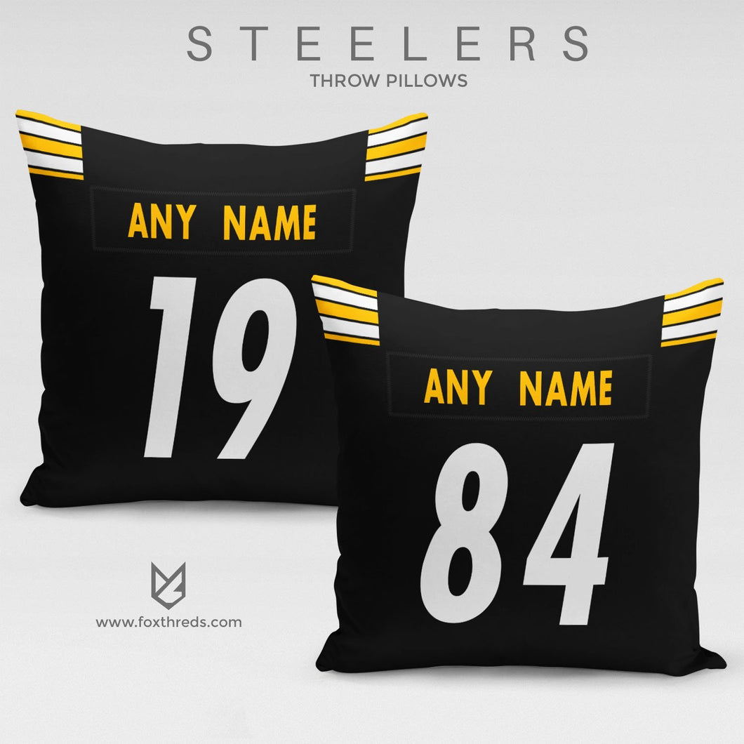 Pittsburgh Steelers Pillow Front and Back - Personalized Select Any Name & Any Number