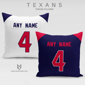 Houston Texans Pillow Front and Back - Personalized Select Any Name & Any Number