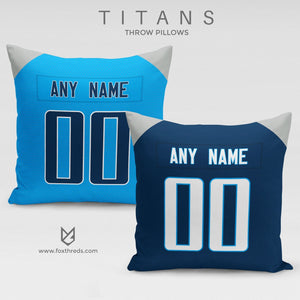 Tennessee Titans Pillow Front and Back - Personalized Select Any Name & Any Number