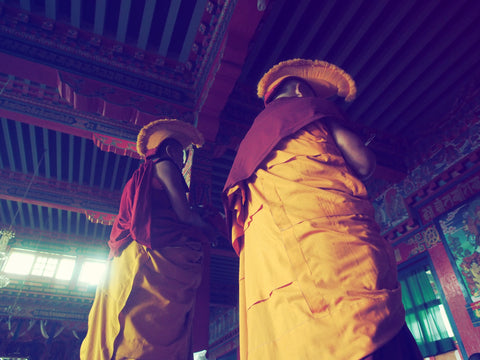 monks during ceremony in nepal