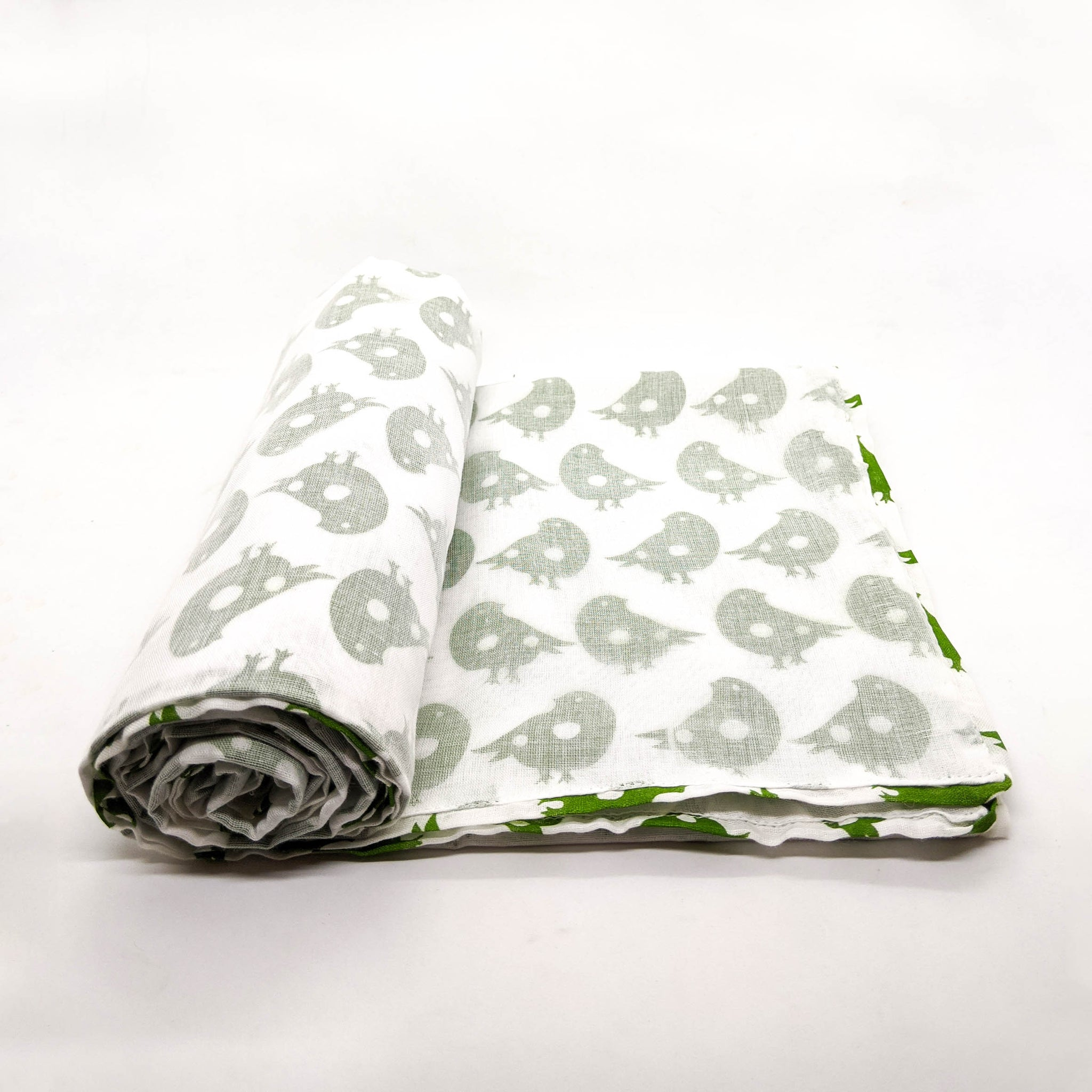 Big Kid Blanket - Green Bird Pattern
