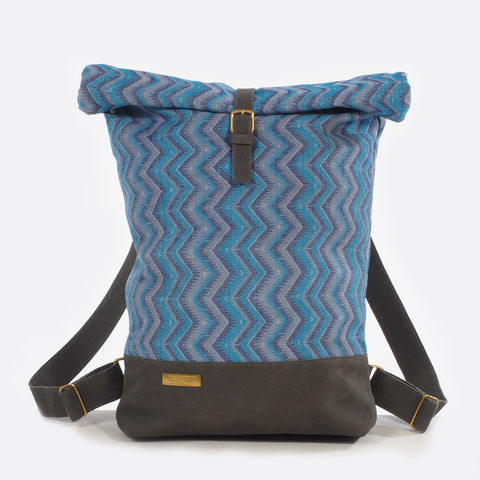 Sun & Moon Blue – Backpack With Leather