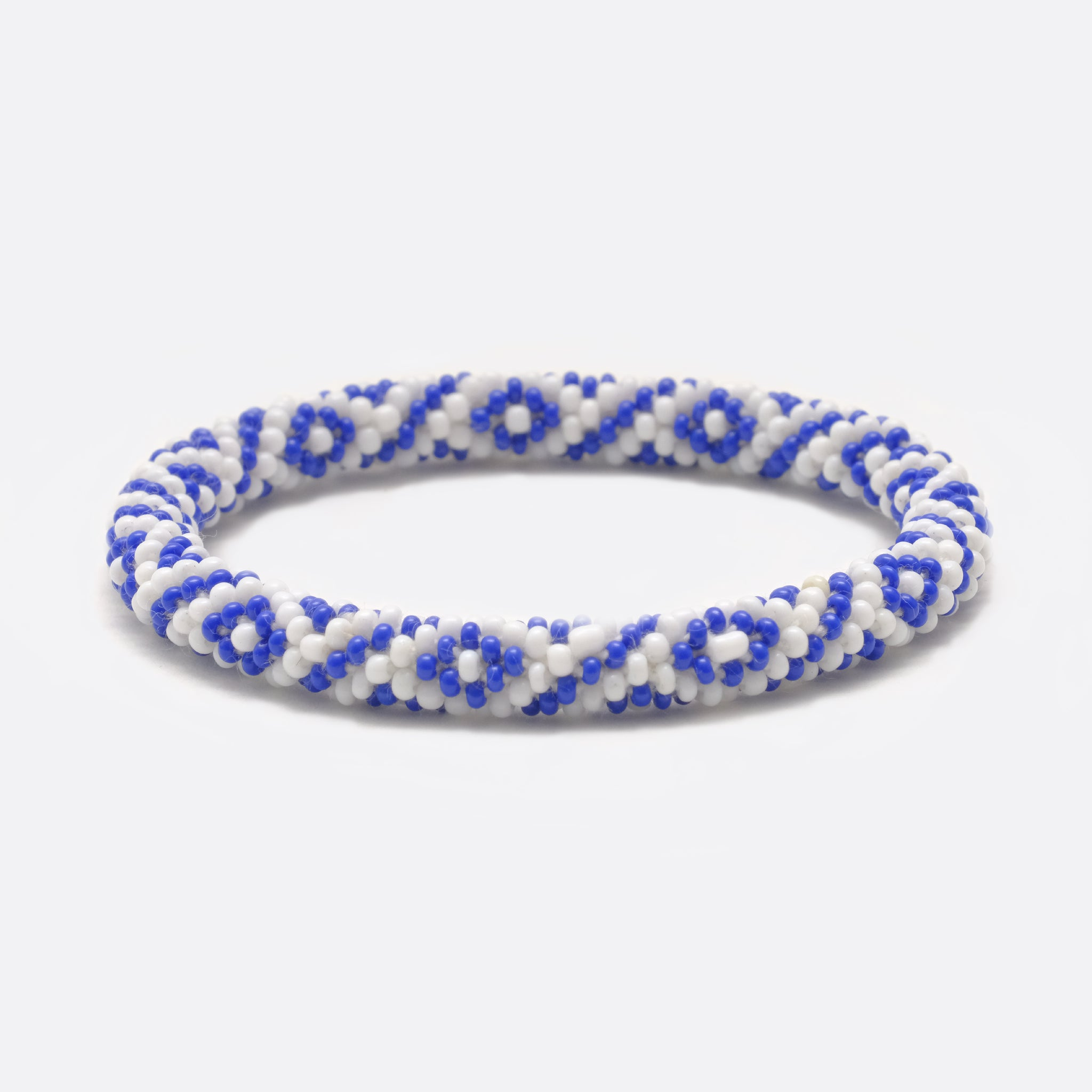 Beaded Bracelet - Blue & White Square