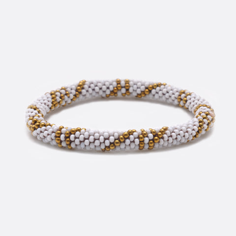 Beaded Bracelet - White & Gold Lines