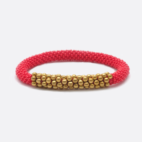 Beaded Bracelet With Brass - Red & Golden Power