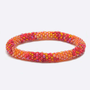 Beaded Bracelet - Organe & Red Shine