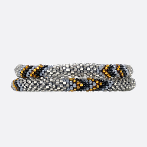 Beaded Bracelet Set - Silver & Gold & Black Flash